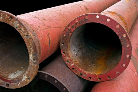 corroded: Aged rusty grunge industrial pipes close up. Stock Photo