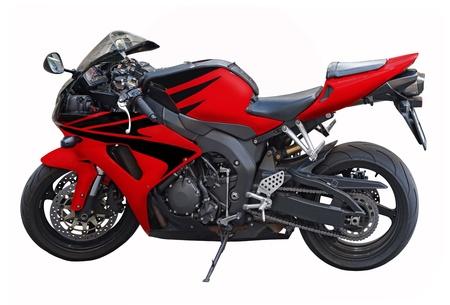 motor race: Een geïsoleerde rode motorfiets op een witte achtergrond