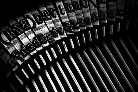 a closeup of an old typewriter keys
