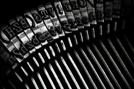 a closeup of an old typewriter keys