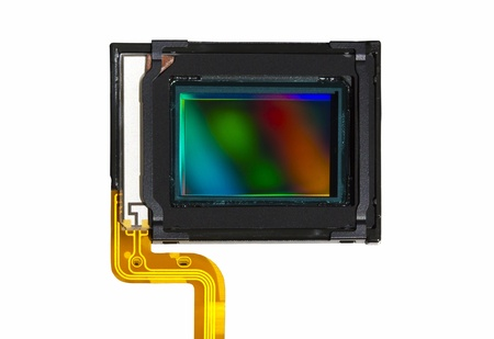 A CMOS sensor isolated over white background.
