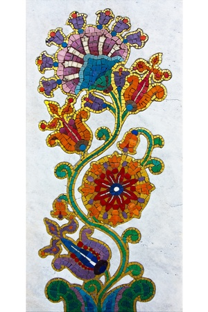 mosaic wall: A beautiful flower mosaic on gravestone in Belgrade ,Serbia  Stock Photo