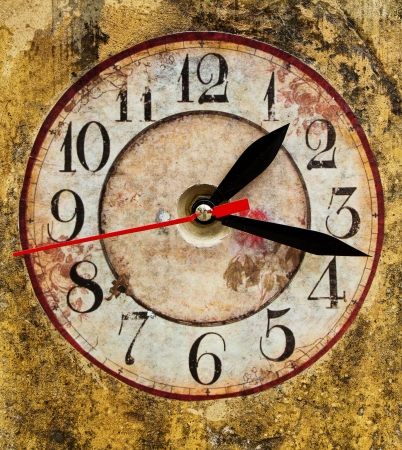 splotchy:  Vintage clock face with grunge texture background