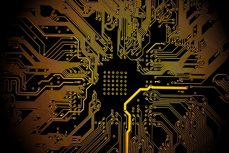 pcb: High technology background - yellow printed circuit board.