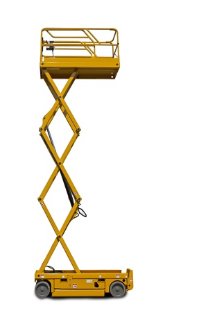 hydraulic lift: A large yellow extended  scissor lift platform over white.
