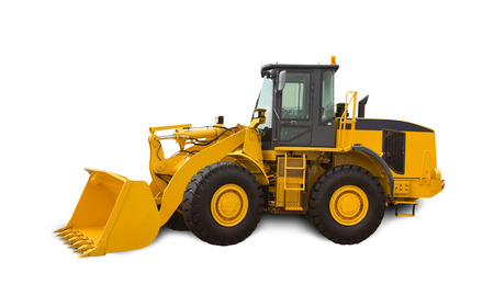 maquinaria pesada: Bulldozer amarillo sobre fondo blanco. La maquinaria pesada. Foto de archivo