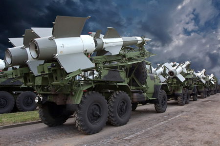 convoy: A convoy of military trucks with russian antiaircraft missiles. Editorial