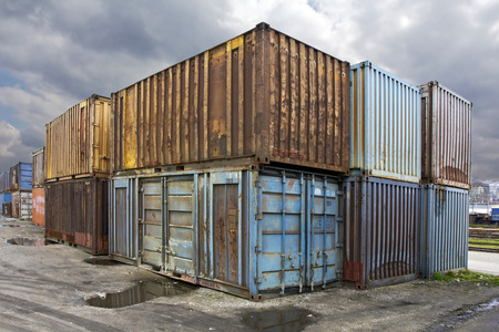 merchandize: Abandoned  rusty truck containers in the suburbs.