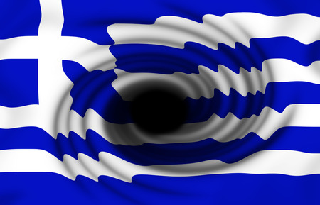 depreciation: Greek flag with the swirl and a deep hole in the middle