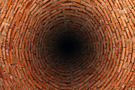 Very deep well  made of red bricks