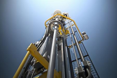 Hydraulic crawler drill machine against blue sky. 版權商用圖片