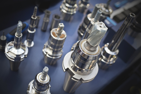 Samples of special drills and metalworking tools 스톡 콘텐츠