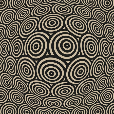continuum: a spherical distortion of a surface pattern, with rows of concentric circles, in black and beige Illustration