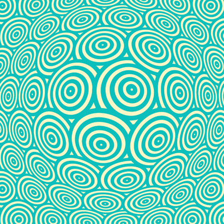 continuum: a spherical distortion of a surface pattern, with rows of concentric circles, in blue and ivory