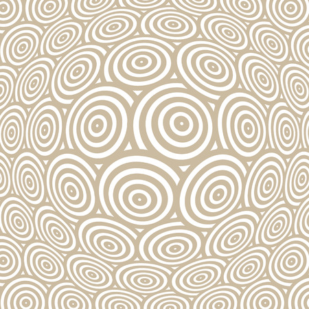 continuum: a spherical distortion of a surface pattern, with rows of concentric circles, in soft brown and white Illustration