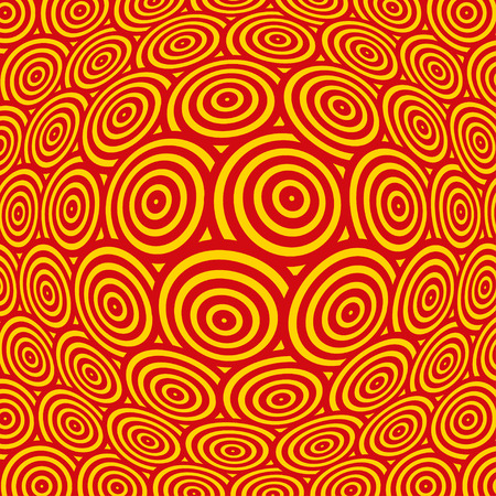 continuum: a spherical distortion of a surface pattern, with rows of concentric circles, in yellow and red