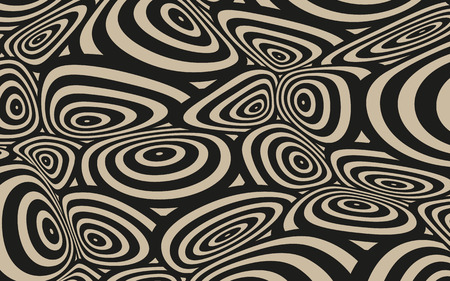continuum: a space distortion illustration with twisted circles pattern, in black and beige