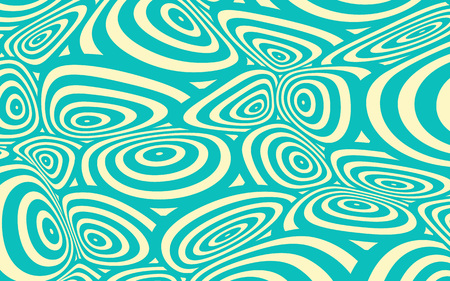 continuum: a space distortion illustration with twisted circles pattern, in blue and ivory