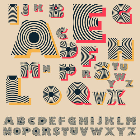 diffusion: vintage decorated alphabet with concentric circles pattern in black red, and yellow Illustration