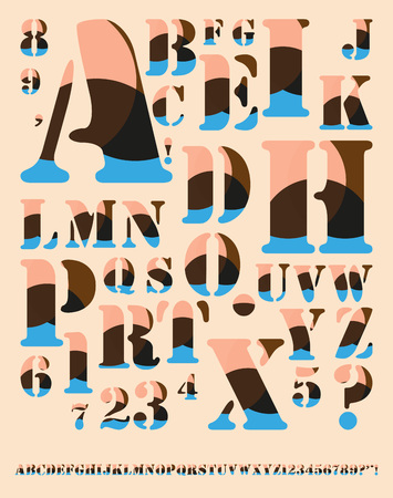 arcs: vintage decorated alphabet with colored arcs pattern in pink brown and blue Illustration