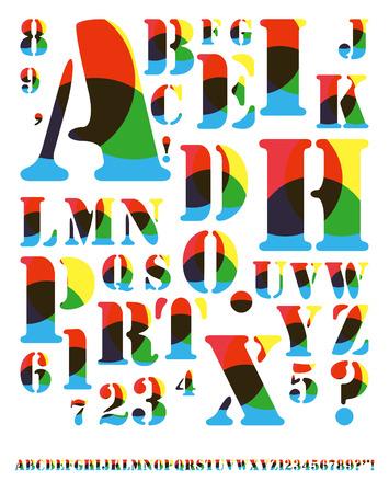 arcs: decorated alphabet with primary colors arcs pattern