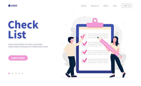 check list landing page. Big page with check marks and pencil. Concept illustration for time and project management. Vecteurs