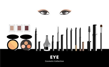 Eye makeup accessory set. mascara, eyebrow pen, liquid eyeliner, eye shadow. Modern art illustration for cosmetic banners, brochures and promotional items.
