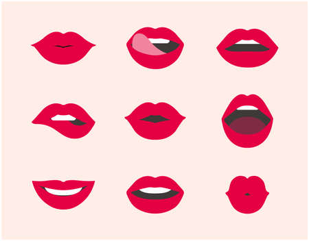 Red female lips icon collection. woman's lips expressed different emotions set.