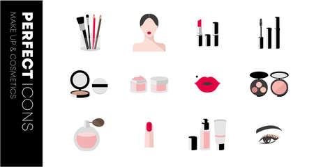 Beauty and makeup icons. Set of cosmetics. Makeup and cosmetics products and tools with lipstick makeup brushes eye shadow mascara. Illusztráció