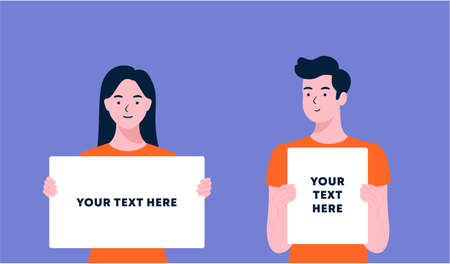 young people holding showing displaying white blank board banner poster. man and woman showing blank signboard, with copy space area for your text or slogan. flat style design illustrations.