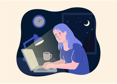 Woman working at night. Unhappy stressed female late hard works in office with computer. business woman work overtime hard with laptop to complete work with cityscape background on night time. Vectores
