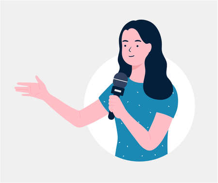 News reporter woman speaking on microphone. A woman holds a microphone in her hand. Business Woman Presentation with Hand Pointing. journalist, Singing, Show, flat illustration. 向量圖像