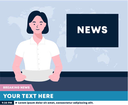 woman tv newscaster reporting sitting in a studio. anchorwoman on tv broadcast news. News anchor broadcasting the news live on screen. Media on television concept. Breaking News.