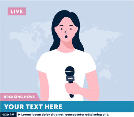 Newscaster woman reports breaking news. A woman holds a microphone in her hand. news reporter live on screen. Correspondent reports the news. A television. Media TV news.