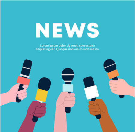 Hands holding microphones, set, taking speech interview, Concept for News, breaking news, journalist, Media, TV, information, broadcasting, mass and communication.