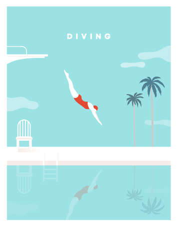 Woman character dives. jumping into water. a jump of a sporty woman into swimming pool. Female wearing swimming suit. diving board, Palm tree, Chair. Modern style. Ilustración de vector