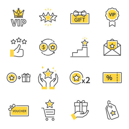 Royalty program line icon set. Included icons as member, VIP, Exclusive, Reward, Voucher, High level, Gift Cards, Coupon, outline icons set, Simple Symbol, Badge, Sign.