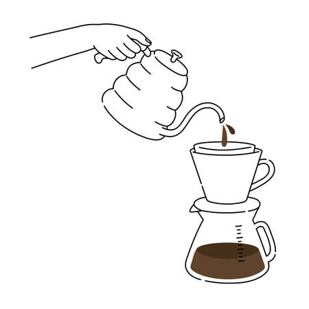 Barista making coffee, Close up hand hold kettle. Manual brew drip coffee and accessories. Barista at work, Pouring a hot coffee, Modern hand drawn style line illustrations.