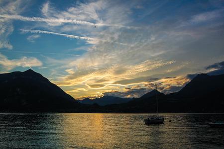 lake como: sunset on lake como