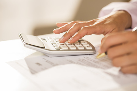 estimating: Female finger desk indoor white bill invoice