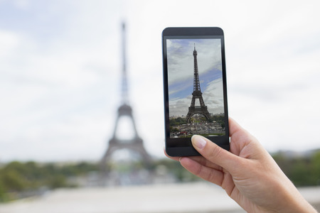 cell phone tower: Female smart phone phtography travel France