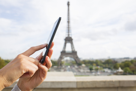 business woman phone: Close up of hands Female mobile phone Paris message sms e-mail