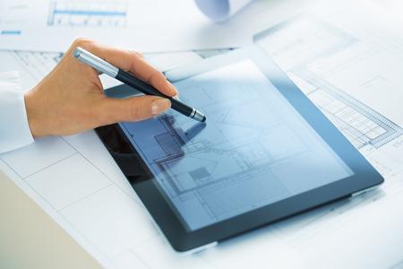 Female digital computer pad Blue Print office