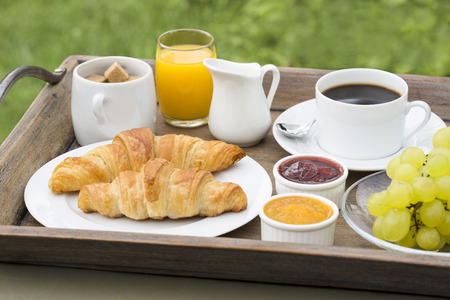 strawberry chocolate: French breakfast with croissants, coffee and orange juice