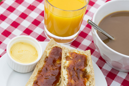 Breakfast with bread and hot chocolate