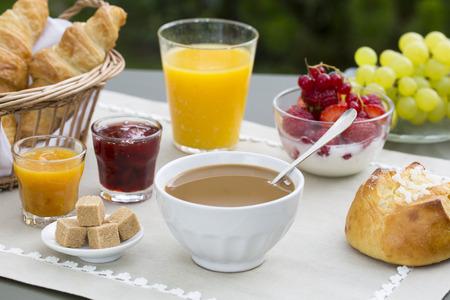 Sunny breakfast in garden
