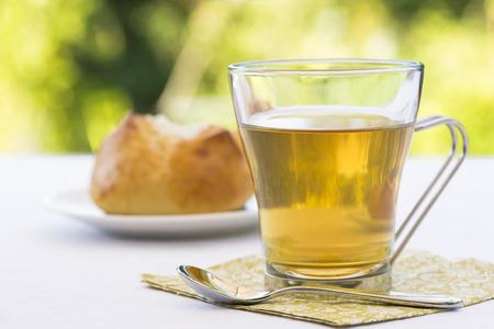 Hot Tea and brioche in garden