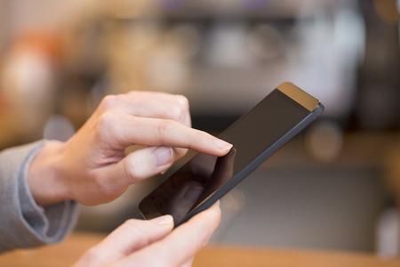 female smartphone pub texting sms fingers