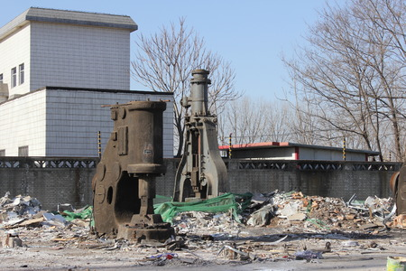 Demolition of village in front of Taihu town