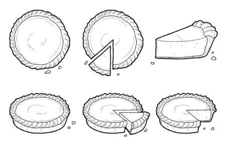 Tarte Illustration Vectorielle Dessert Dessiné Main Art Dessin Animé Vecteurs
